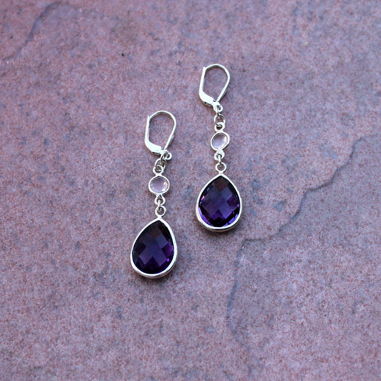 Amethyst drops earrings cavossa designs my earrings pinterest