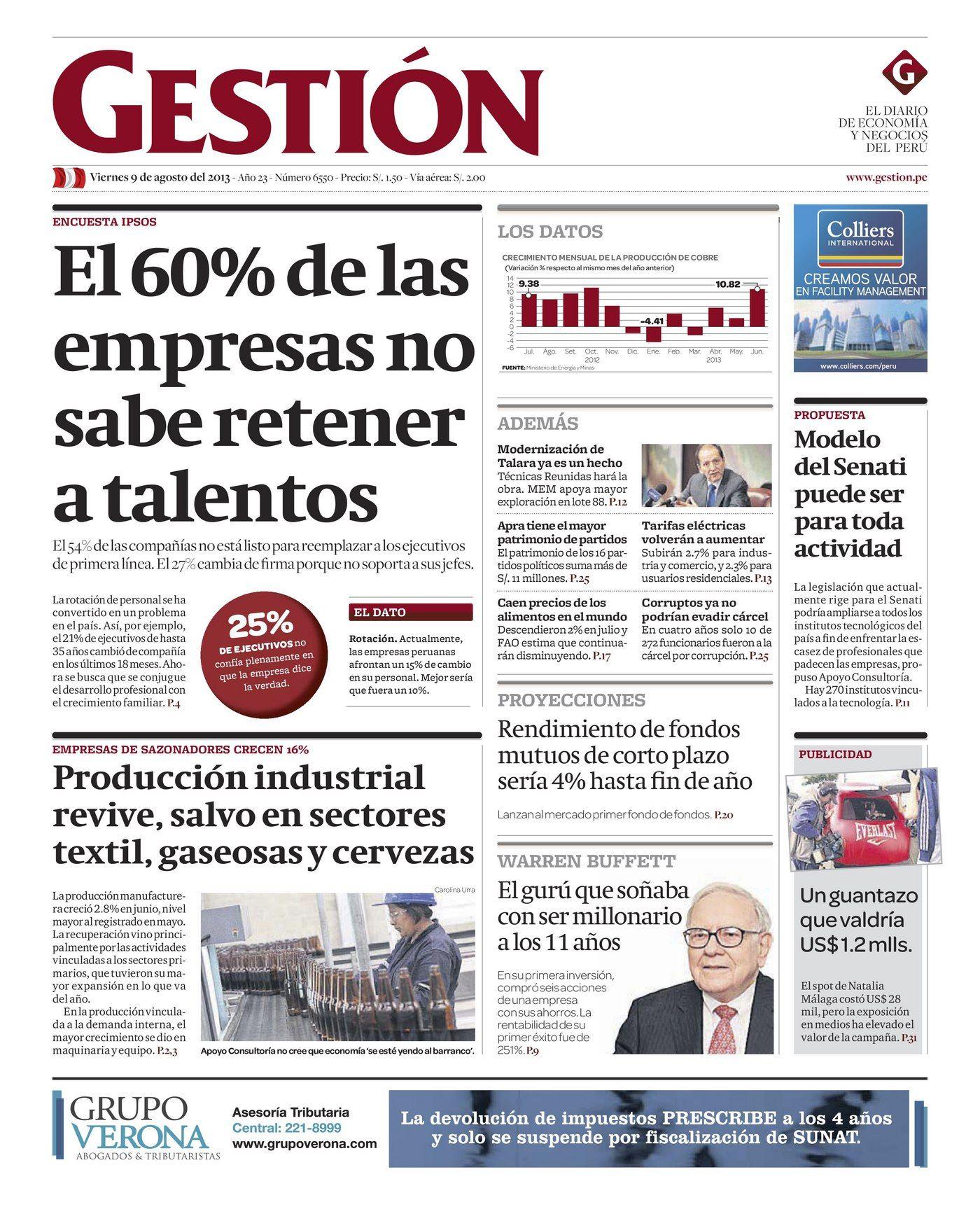 Edición Impresa del día 09/08: El 60% de las #empresas no sabe ...