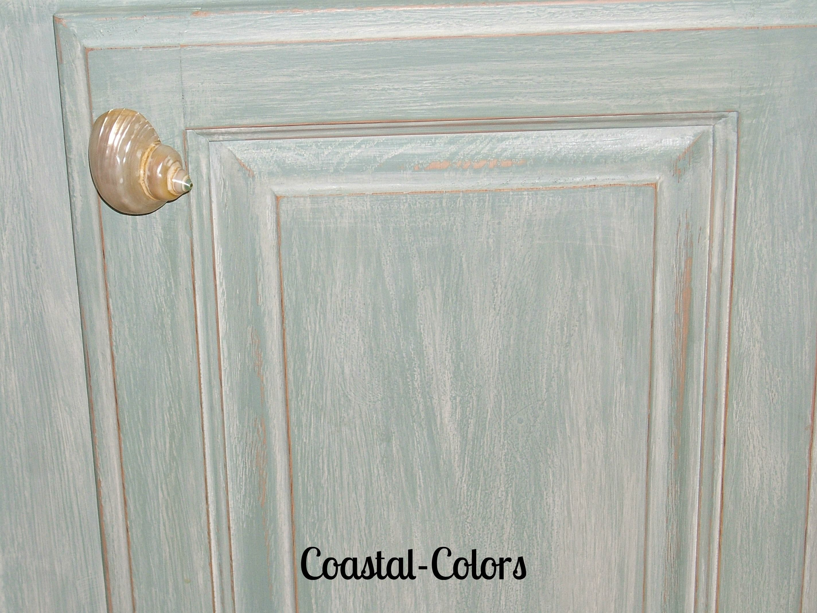 Paint Wash On Wood Beachy Chalk Painted Cabinets With A Color Wash Painted