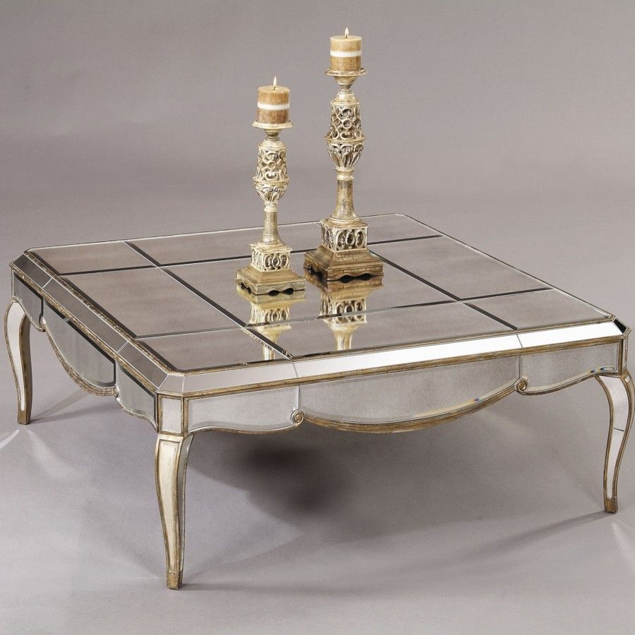 Bassett mirror collette square cocktail table in antique