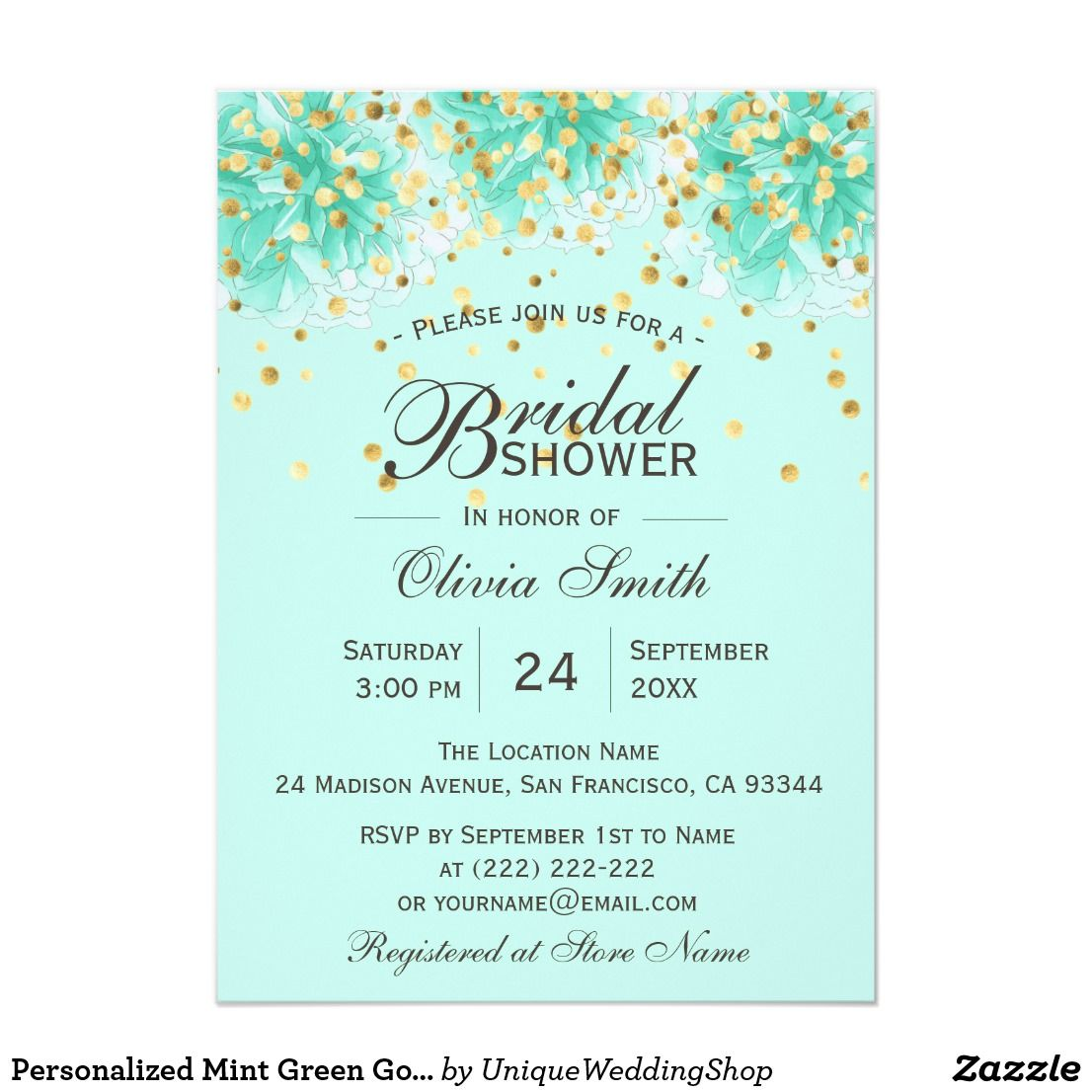 Personalized Mint Green Gold Floral Bridal Shower Invitation