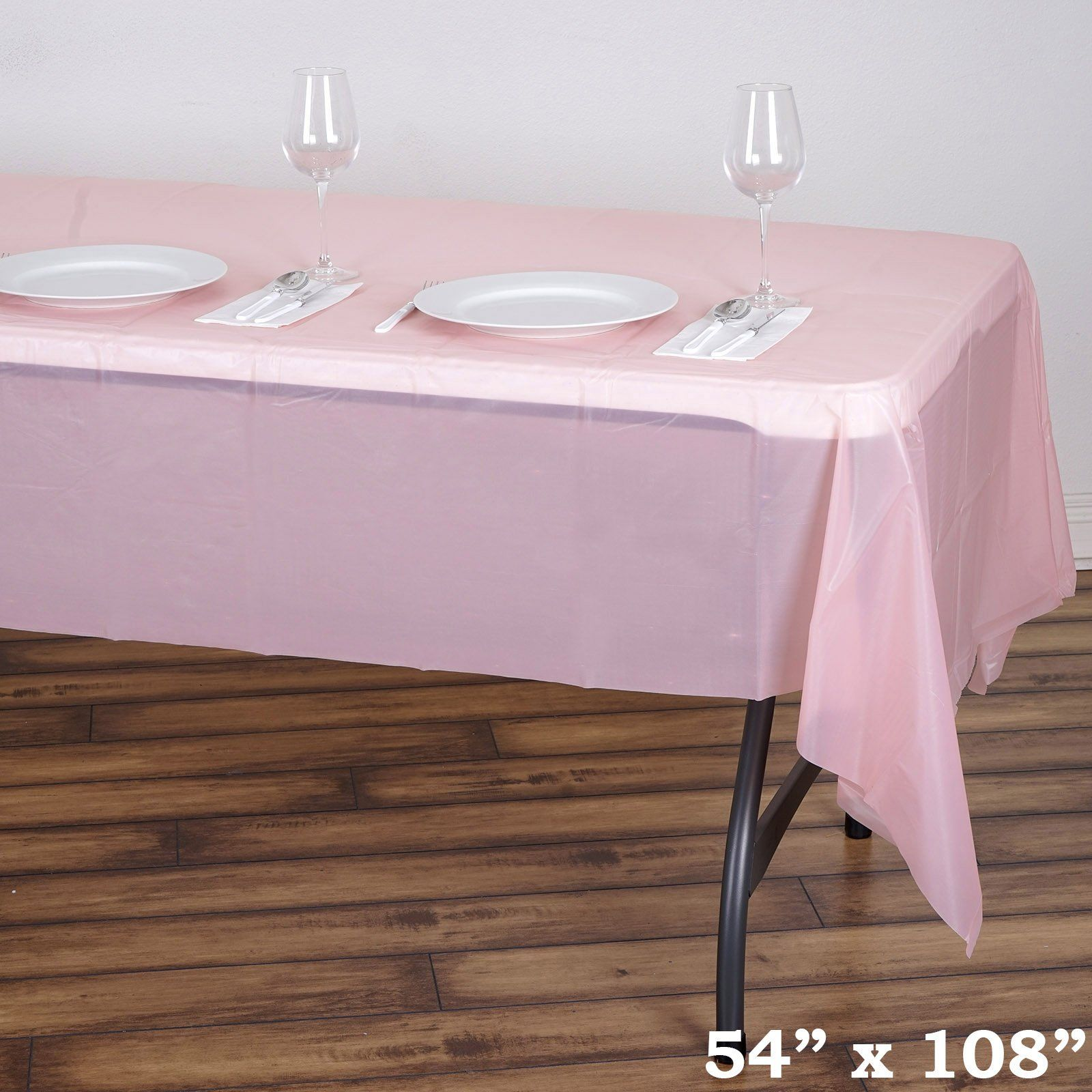 54 X 108 10 Mil Thick Waterproof Tablecloth Pvc Rectangle Disposable Tablecloth Rose Gold Blush Plastic Table Covers Plastic Tables Affordable Table