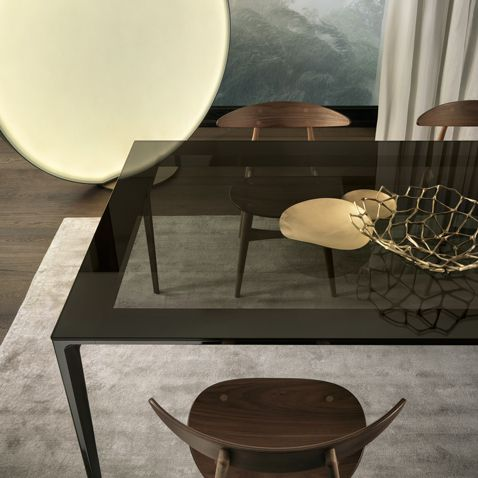Superbe Long Island In Black Nickel Structure, Grey Transparent Tempered Glass Top  And Perimetral Frame With
