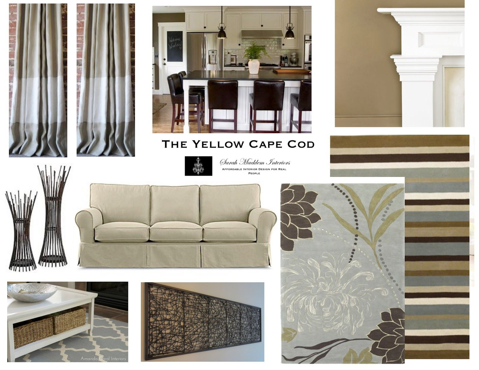 Gray and tan living room the yellow cape cod how to - How to pick curtains for living room ...