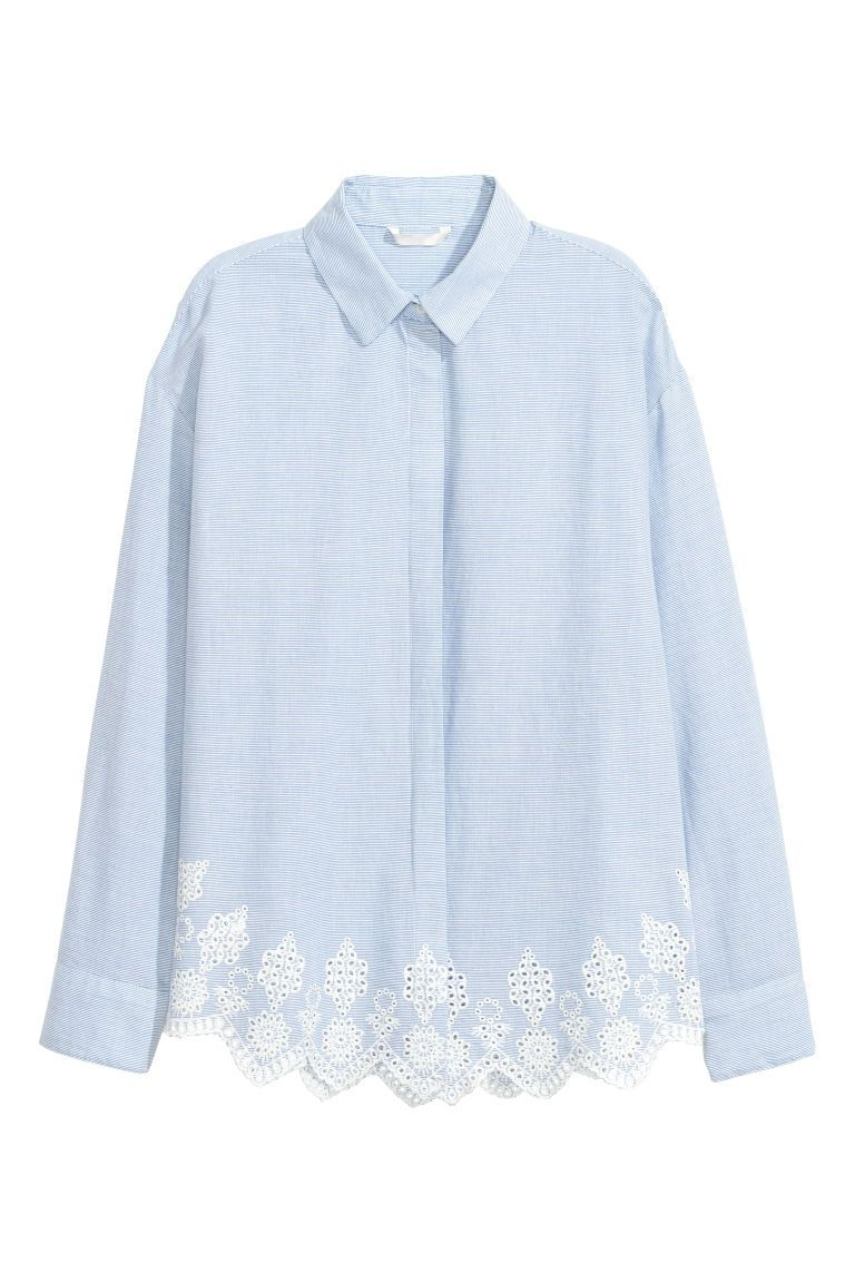 best sell buy sale cheap Chemise avec broderie anglaise | Chemise bleue et blanche ...
