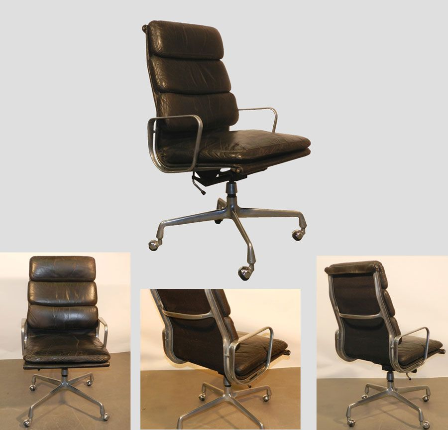 RAY ET CHARLES EAMES FAUTEUIL SOFT PADS HAUT DOSSIER CUIR - Fauteuil design charles eames