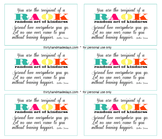Random Acts Of Kindess Loveforjj Random Acts Of Kindness Kindness Card Template