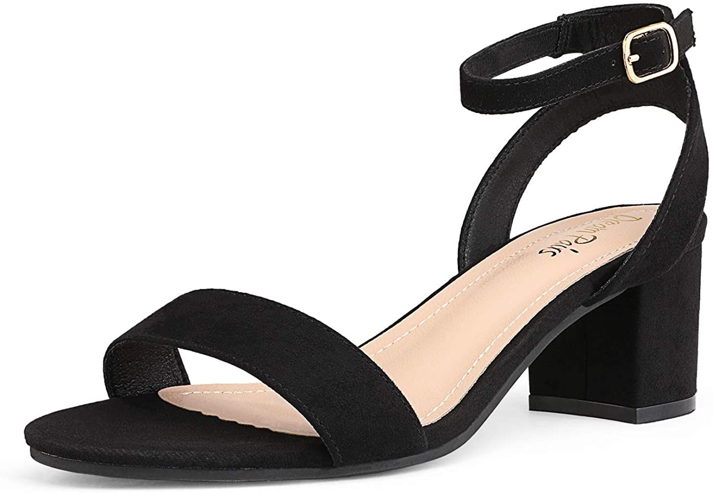 Amazon Com Dream Pairs Women S Black Sudede Open Toe Ankle Strap Low Block Chunky Heels Sandals Party Dress Pump Chunky Heels Sandals Pump Shoes Me Too Shoes [ 1000 x 1447 Pixel ]