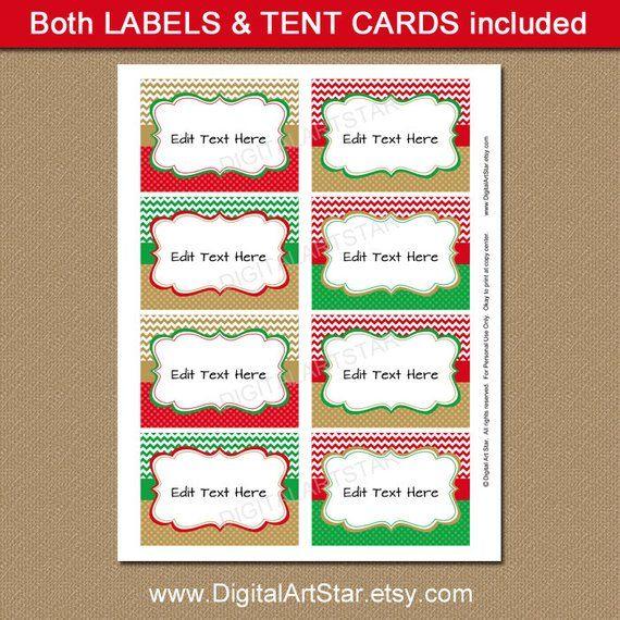 printable editable christmas food labels red green gold chevron