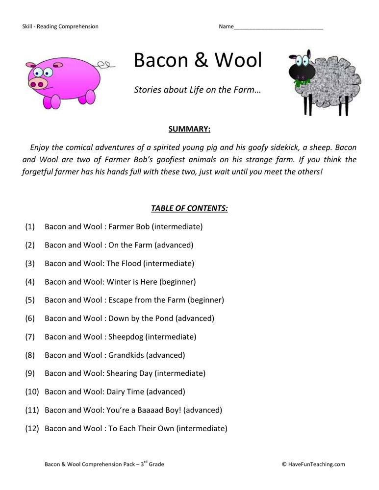 Reading Comprehension Worksheet Bacon And Wool Collection