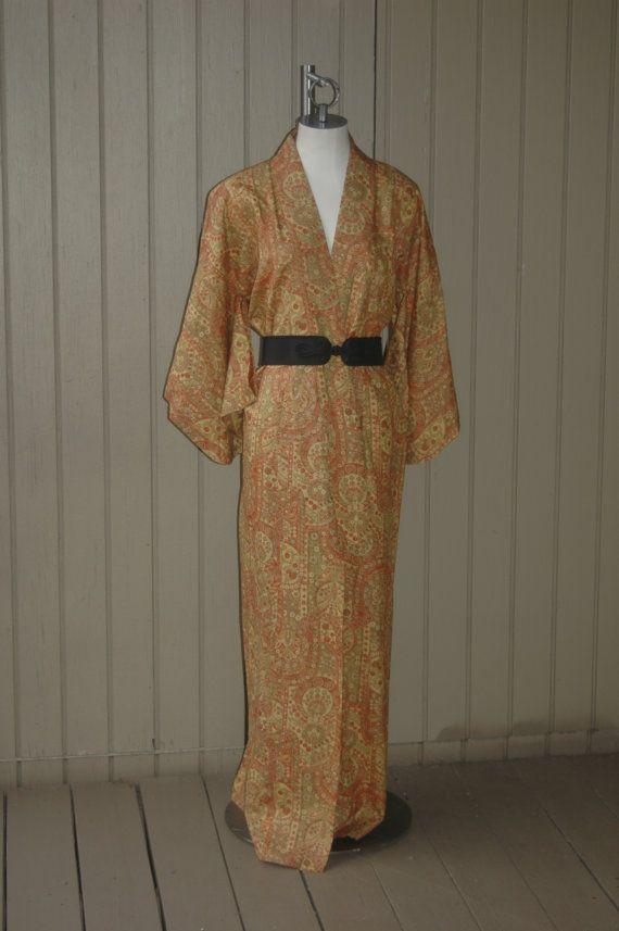 Vintage Long Silk Japanese Kimono Autumn by retrocollective77, $139.00