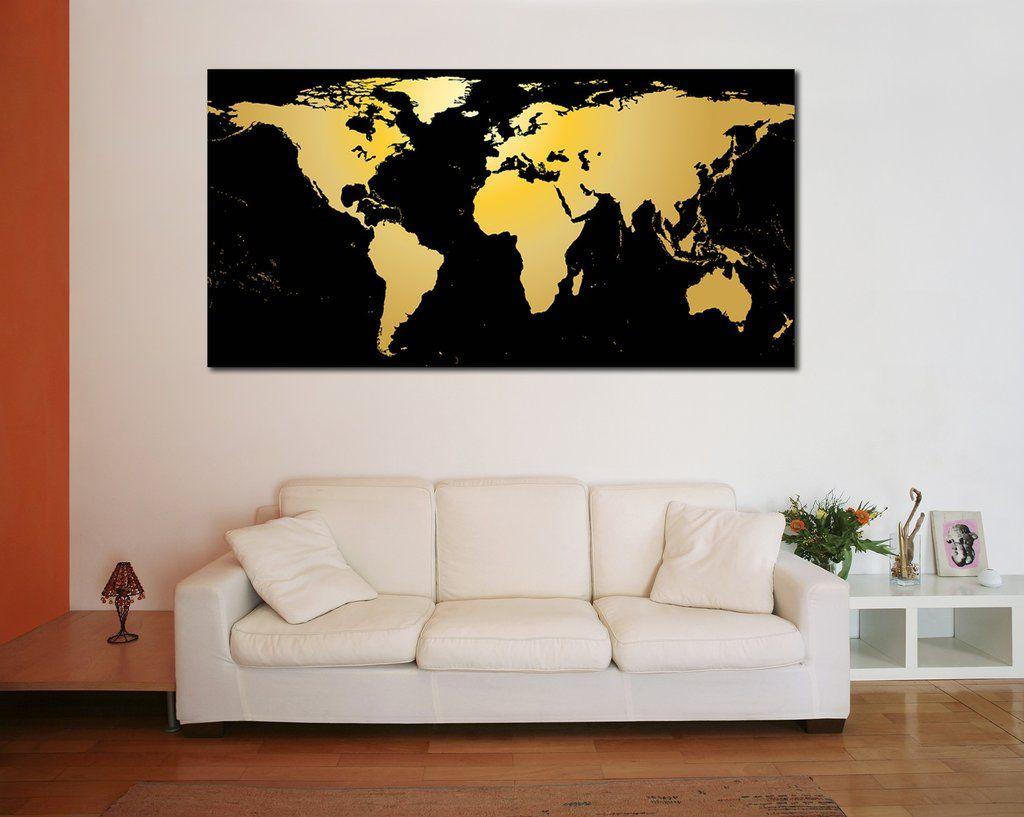 Black gold world map canvas print canvas print zellart