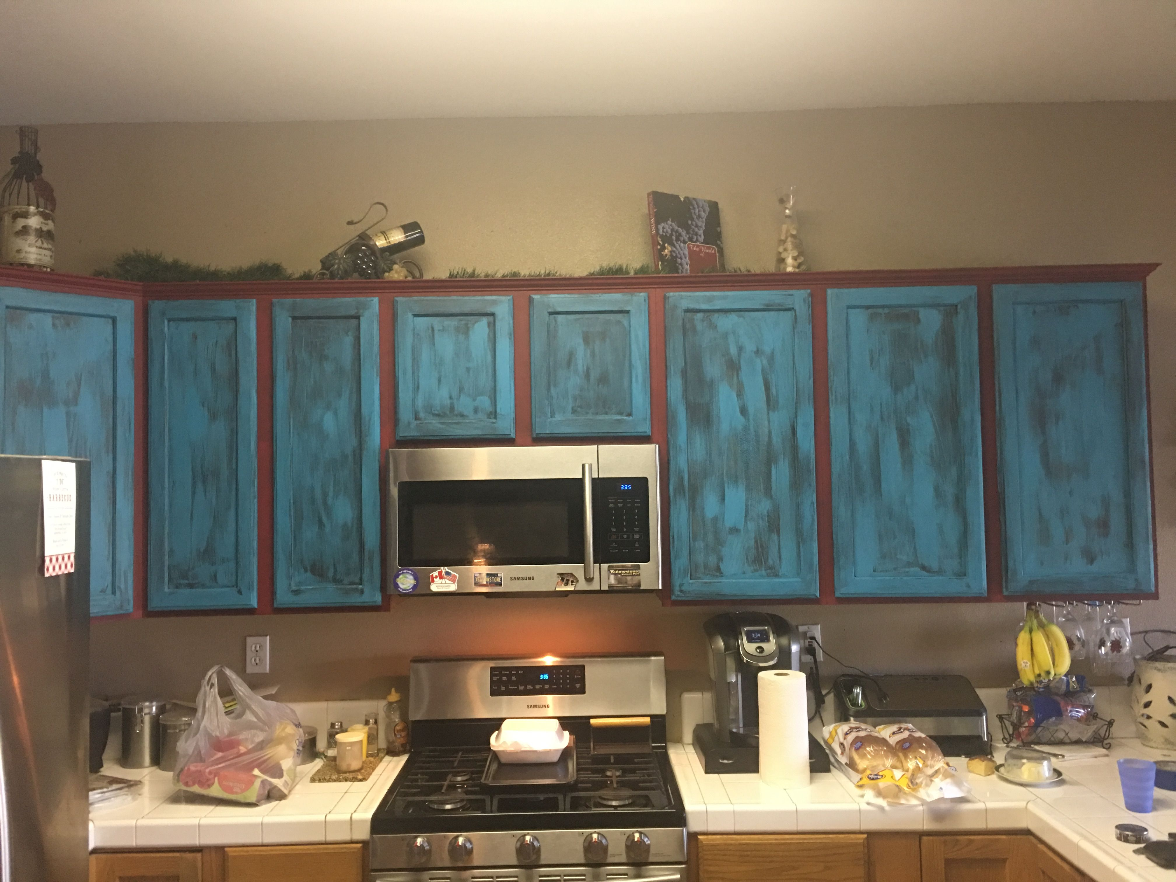 Teal And Red Chalk Paint Kitchen Cabinets Chalk Paint Kitchen Cabinets Chalk Paint Kitchen Painting Kitchen Cabinets