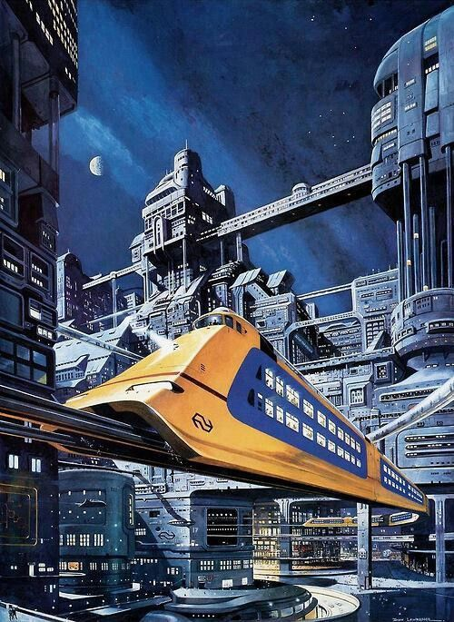 Railway Of The Future By Don Lawrence Futuristic City Retro