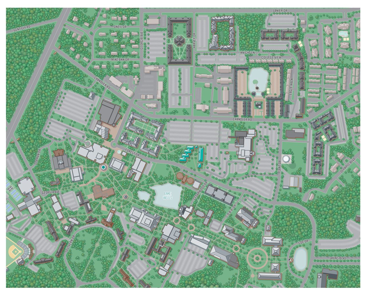 Georgia Southern Map 2D Campus Map Illustration, Georgia Southern University (partial  Georgia Southern Map