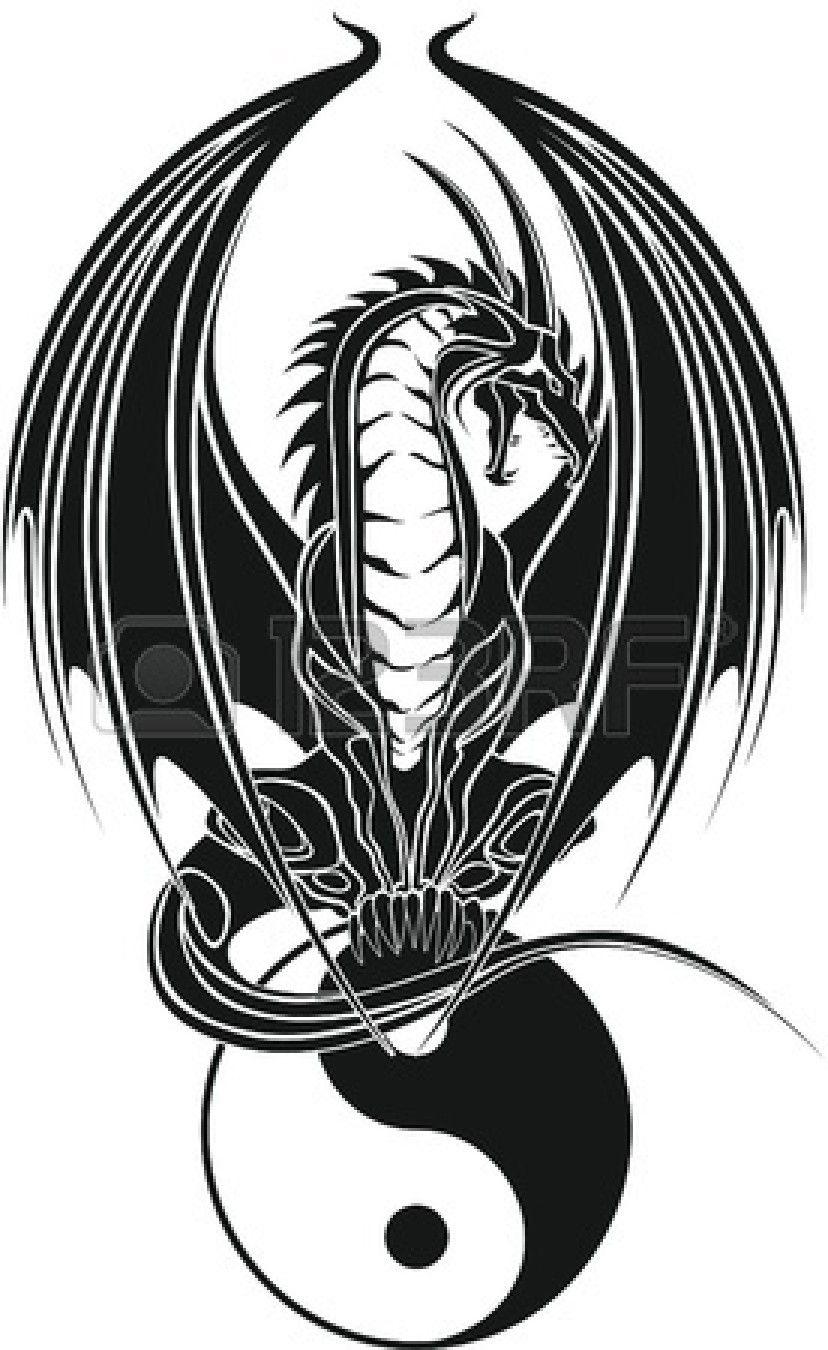 12802744-dragon-tribal-like-yin-and-yang.jpg (828×1350)   Dragons ...