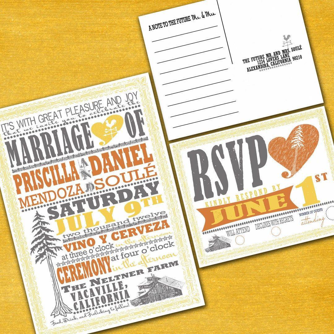 Vintage redwood poster custom wedding invitation suite with rsvp