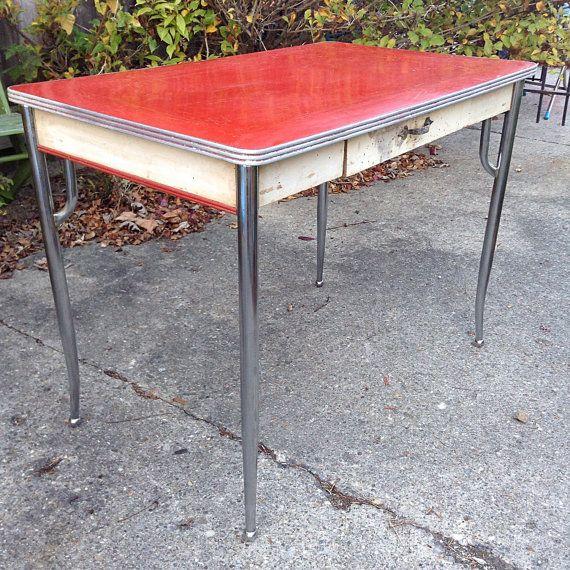 1930 S 1940 S Primitive Red Porcelain Enamel Top Farm Etsy Farm Style Table Farm Table Art Table