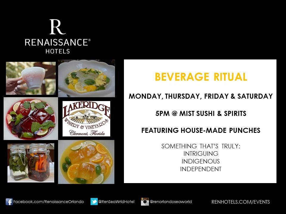 Discovery Hour at Renaissance Orlando includes local Lakeridge Winery Wines and Bear Gully Whiskey. We incorporate herbs from R Hanging Gardens and utilize our Director of Beverage's Great Grandmother's Punch Bowl.