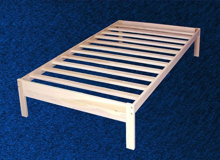 New Wood Platform Bed Frame Twin Size Solid Hardwood Wood