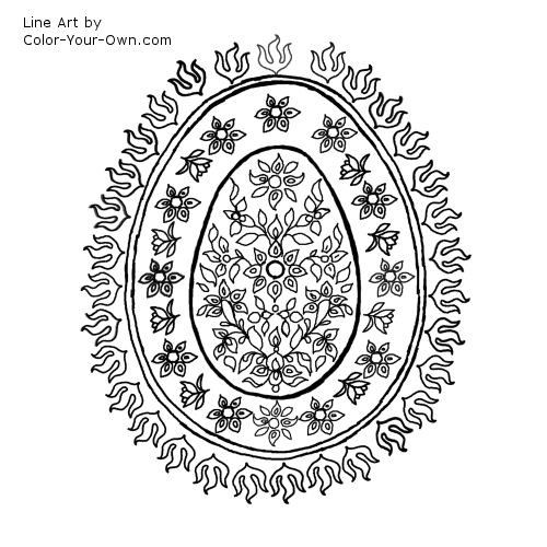 decorative egg pattern with flowers line art line Art ~ Ostara Egg - ideal for Pyrography or embroidery