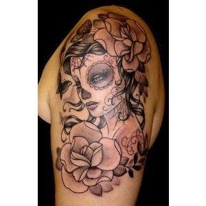 Flowers Upper Arm Tattoo For Girls Girly Skull Tattoos Skull Girl Tattoo Sugar Skull Tattoos