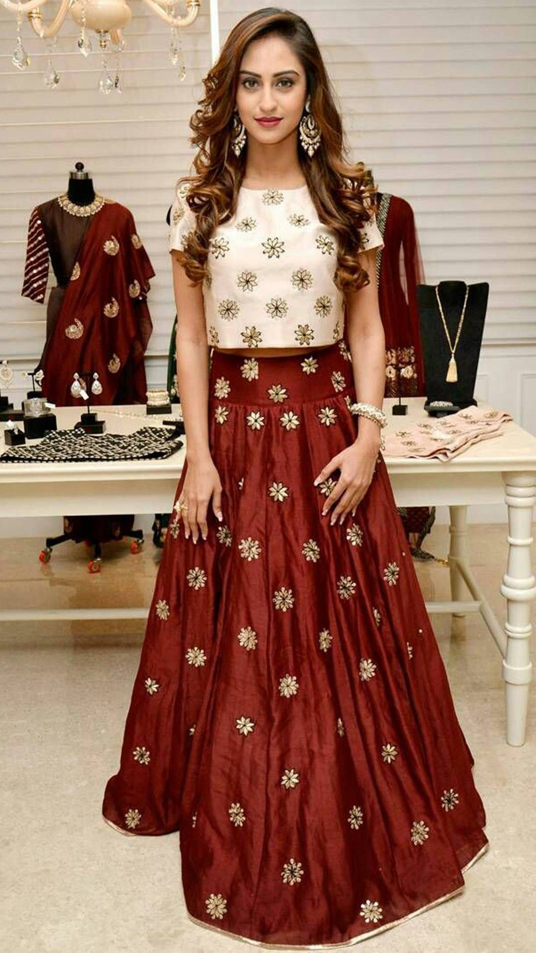 0eb168d51e Buy TodayBazar Maroon Georgette Unstitched Lehenga Online at Low Prices in  India - Paytm.com