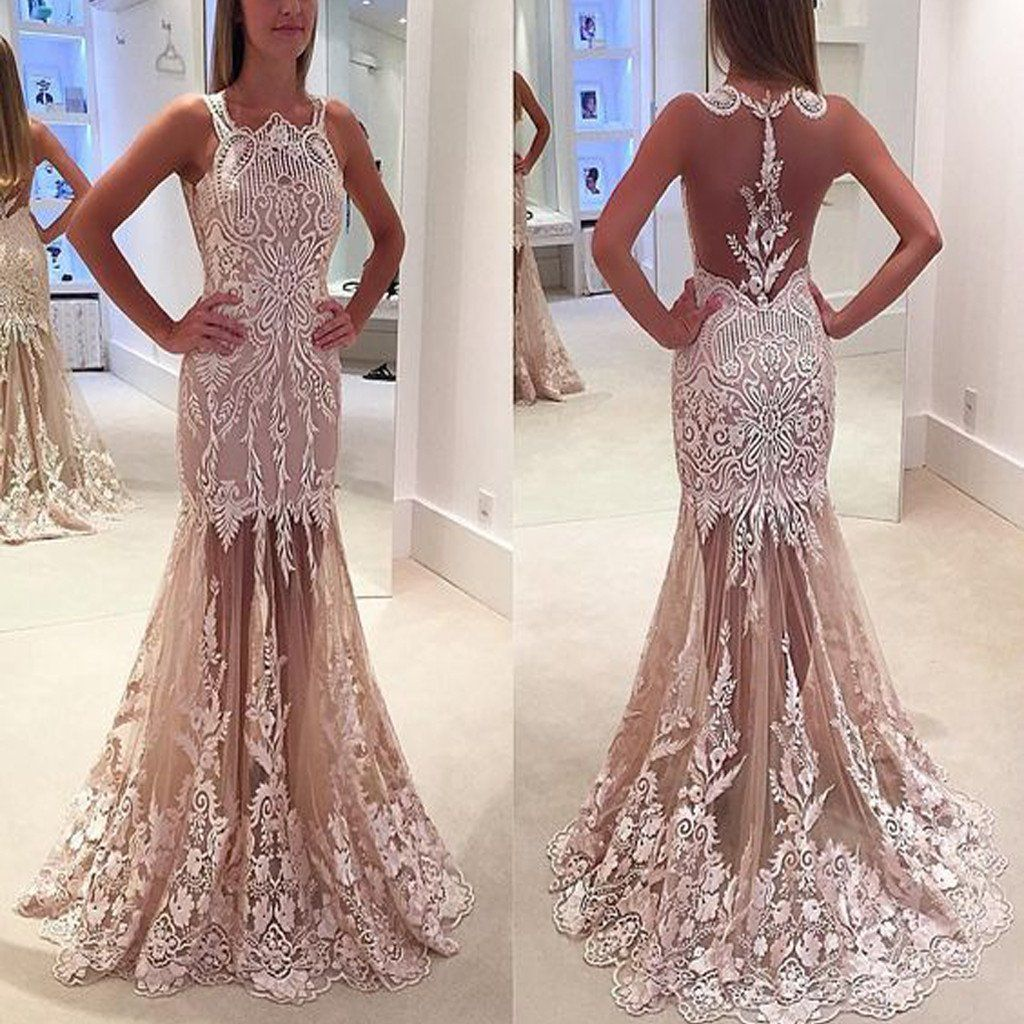 Long vintage lace see through sleeveless unique mermaid prom dresses