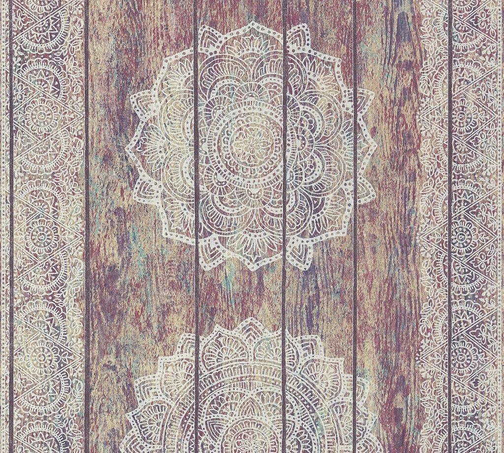Vliestapete Mandala Holz Paneel Optik Bunt Grau Tapeten Ausgefallene Tapeten Ornament Tapete