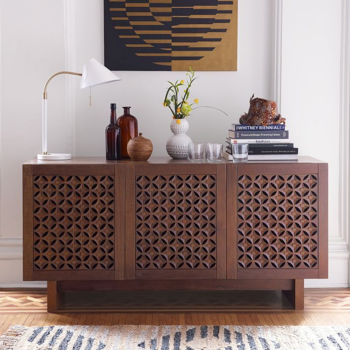 Hand Carved Indonesian Solid Wood Media Console