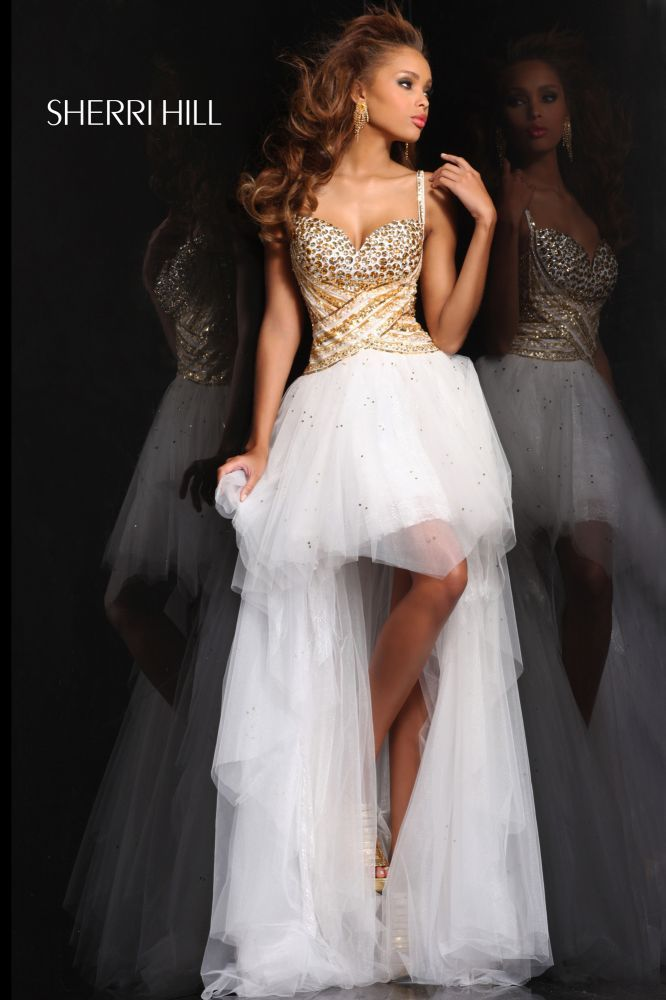 Whie Gold High Low Prom Dresses