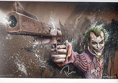 JOKER w GUN Print HAND SIGNED by ROB PRIOR Batman Smaller Version w COA