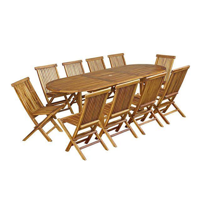 Salon de jardin 10 chaises en teck huilé | Idées pour Merey | Chaise ...