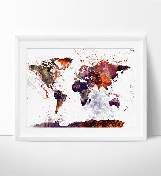 World map wall art world map poster large map watercolor world map wall art world map poster large map watercolor painting gumiabroncs Image collections