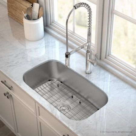 Kraus Kitchen Combo With Outlast Microshield Undermount Stainless Steel 31 In Single Bowl Real 16 Gauge Kitchen Sink And Nola Commercial Kitchen Faucet With Soap Dispenser In Chrome White Kitchen