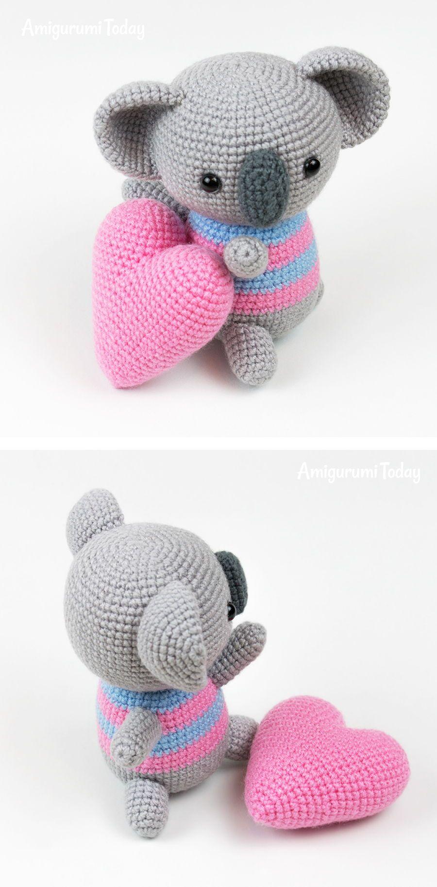 Amigurumi koala with heart pattern | A crochet | Pinterest | Croché ...