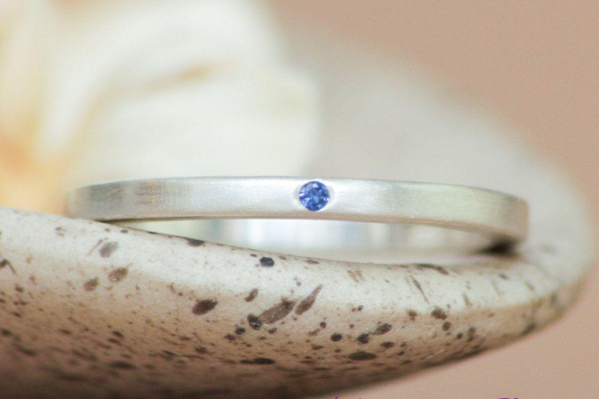 Modern Unisex Inset Blue Sapphire Silver Square Wedding Engagement