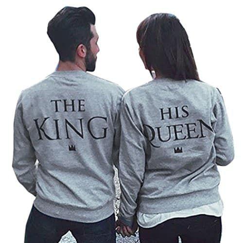 King 01 Und Queen 01 Parchenpullis Im Set Hoodies Fur Paare Wunschzahlen Moglich Paar Pullover Pulli Paar Pullis