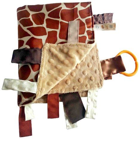 Tag blankets: this blanket has the ribbons sewn shut.  We do not have this one! We have homemade sensory ribbon blankets made from fleece and minky fabric and different textured looped ribbons. We make these receiving blanket size.