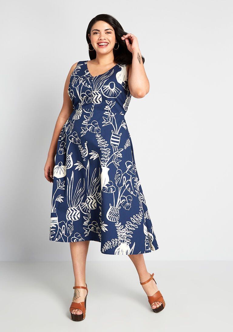 Full Of Character Midi Cotton Dress In 2x Sleeveless Fit Flare Mid Length Vintage Inspired By Emily A In 2021 Cotton Midi Dress Plus Size Summer Dresses Knit Dress [ 1097 x 768 Pixel ]