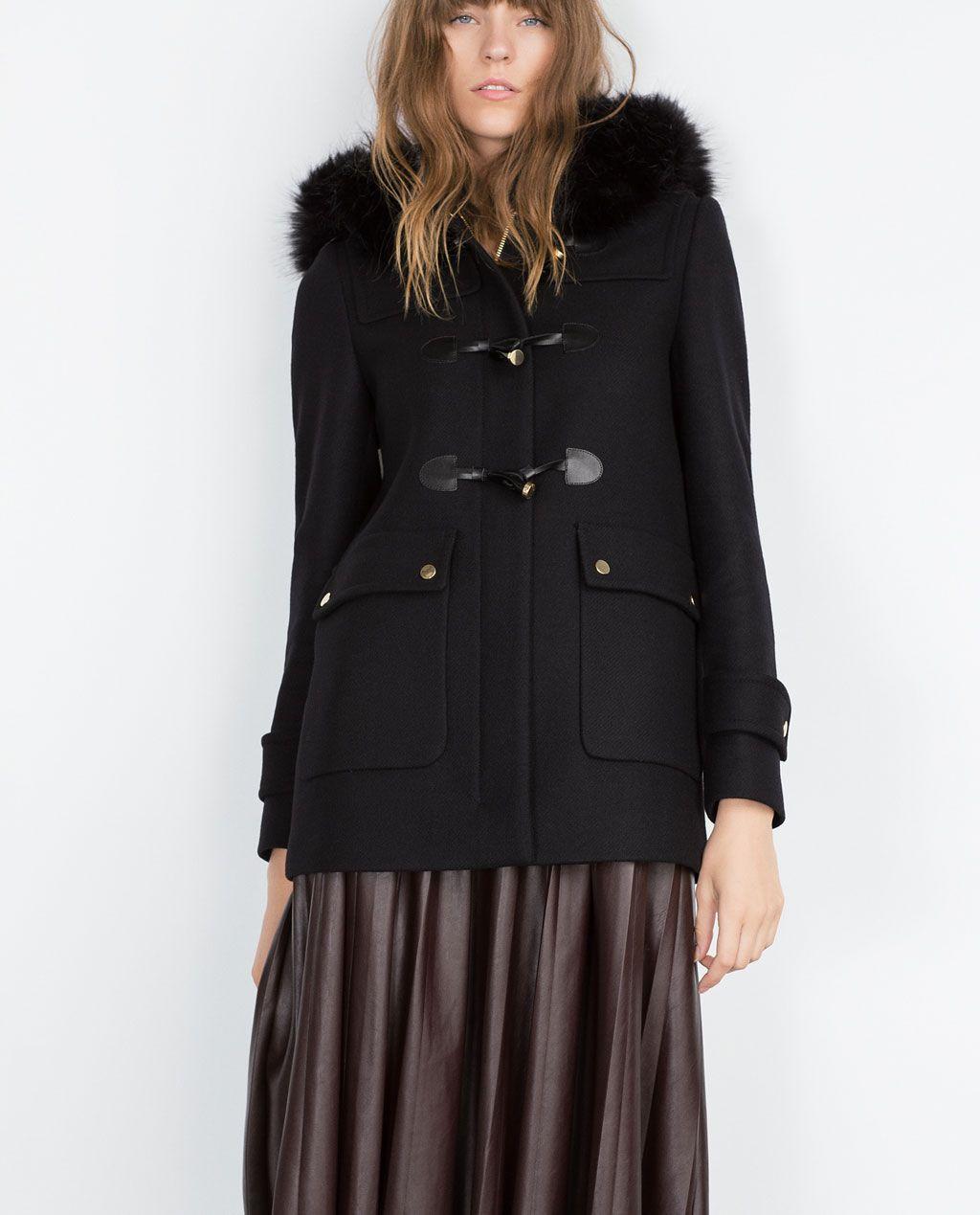 Zara Manteaux Duffle France Coat Fourrure Capuche Femme wfAFqXA