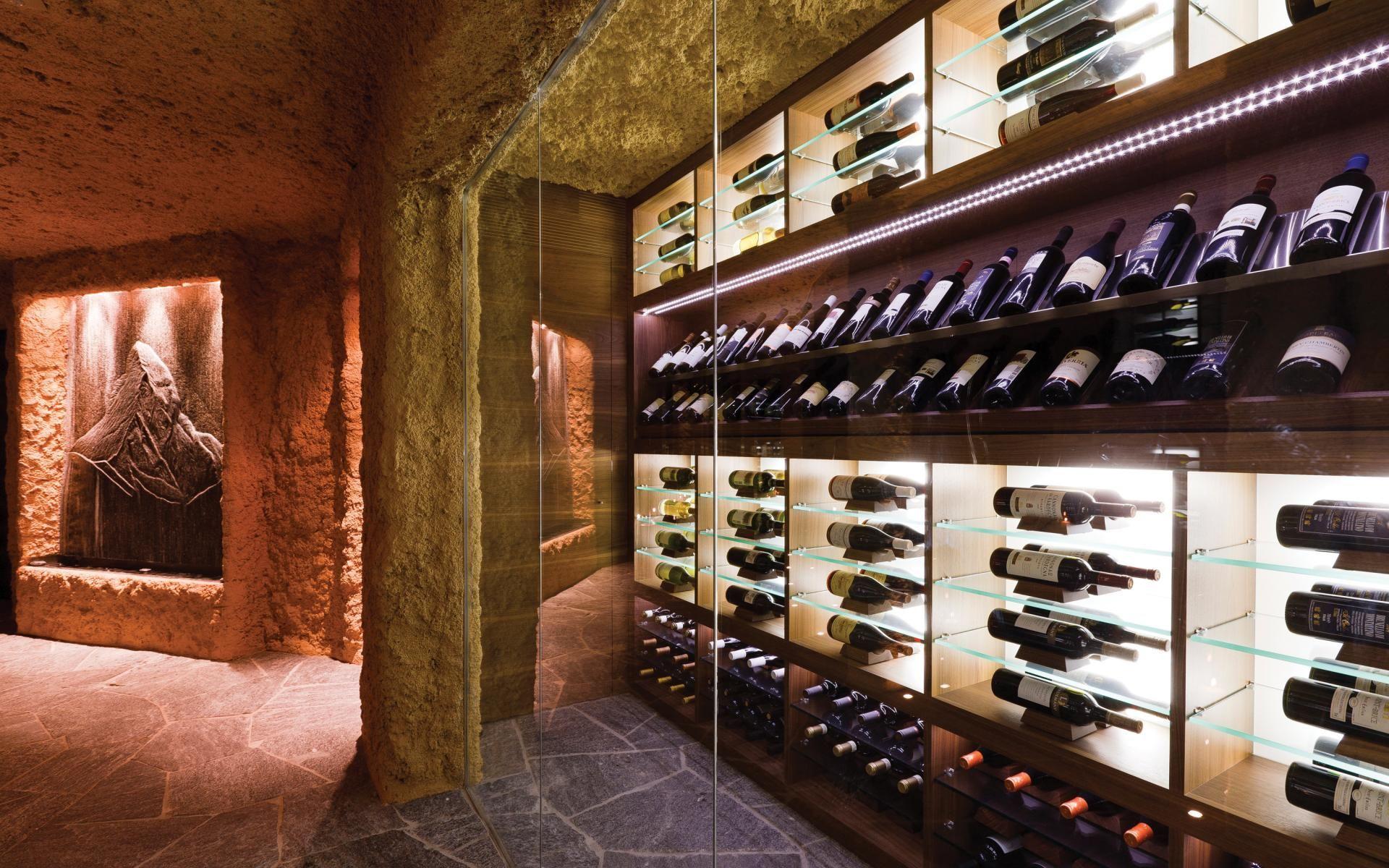 The wine rack at the ultra-luxury ski Chalet Zermatt Peak ...