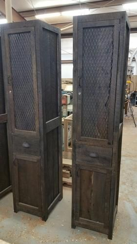 Custom Made Barn Wood And Metal Industrial Tall Linen Cabinet With Drawer  And BWV8DR957FCS