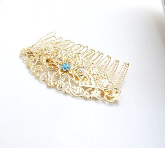 Valentine's Day bridal Gold  and Turquoise Hair by YaelSteinberg, $35.00