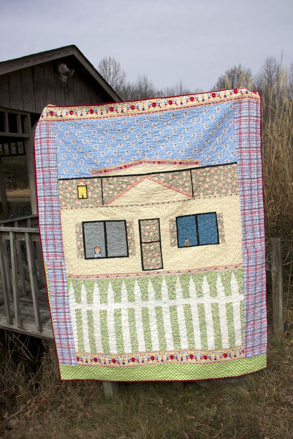 """Finished """"House"""" quilt."""