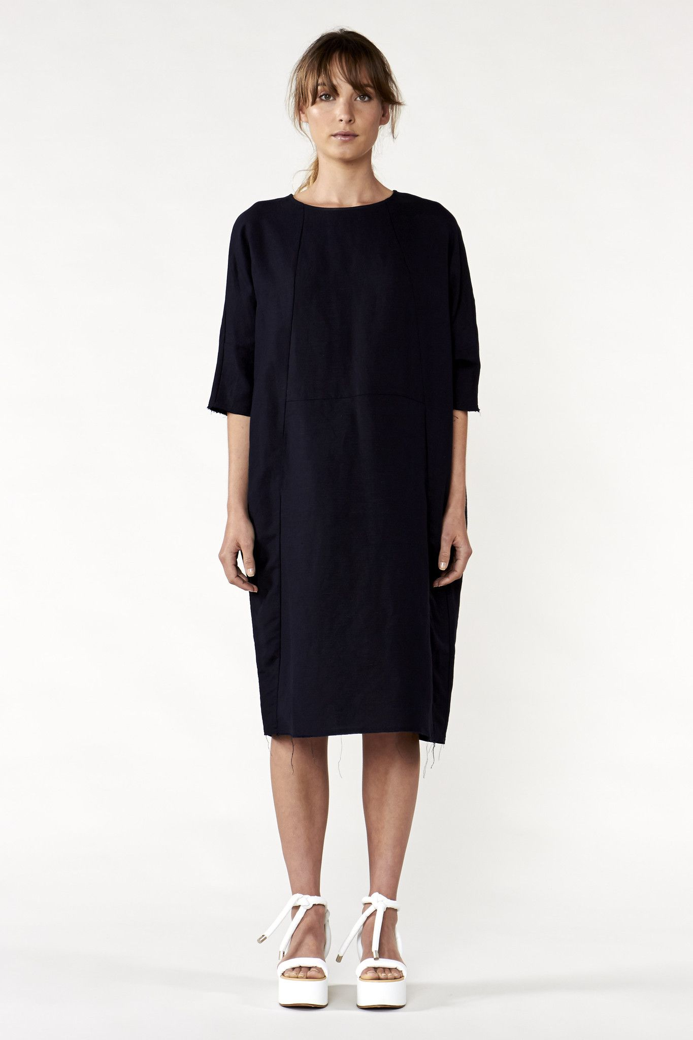 Oversized cocoon dress with kimono darted back sleeve and front