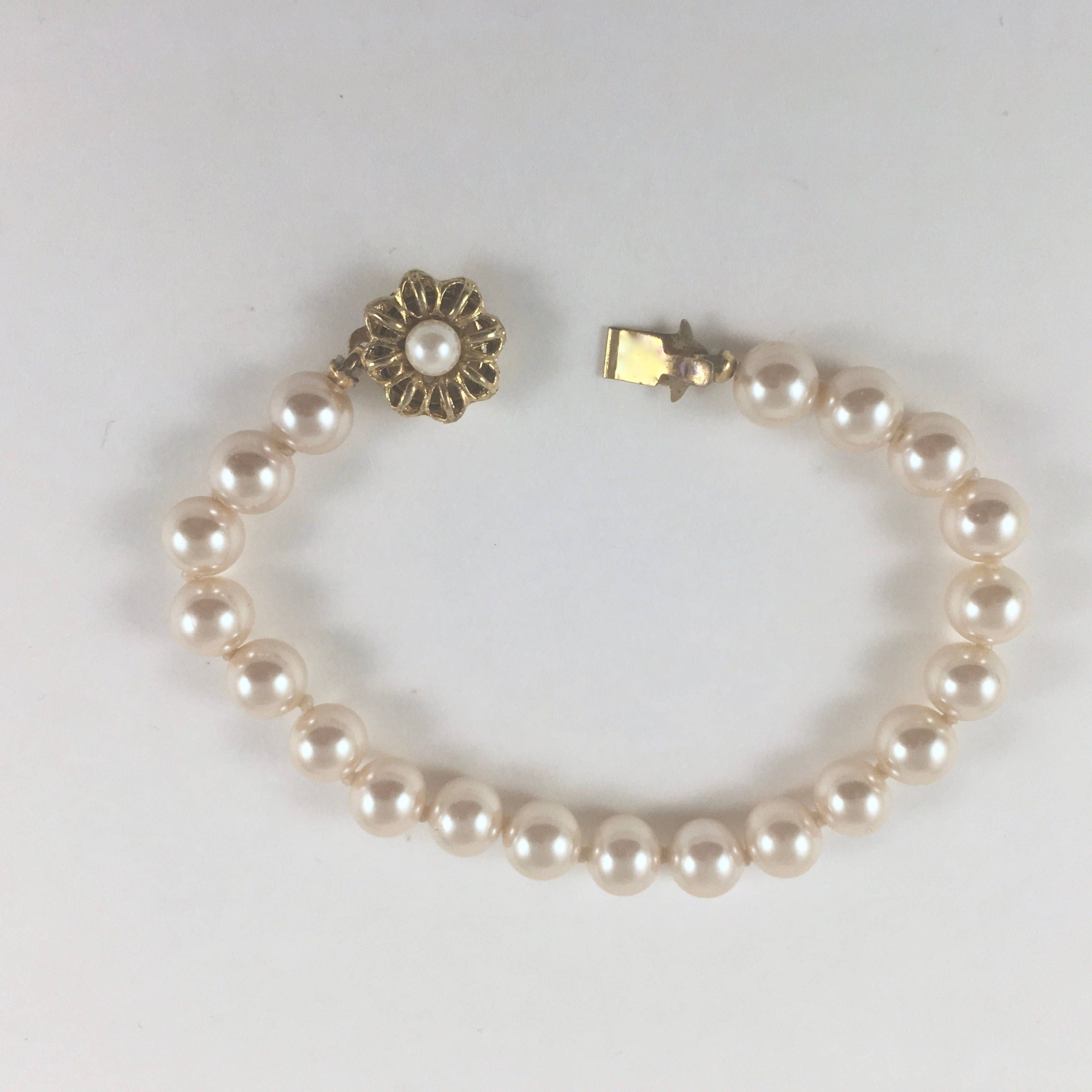 1a5adad67a3d4 Vintage Pearl Bracelet, Gold Flower and Pearl Clasp, Faux Pearl ...