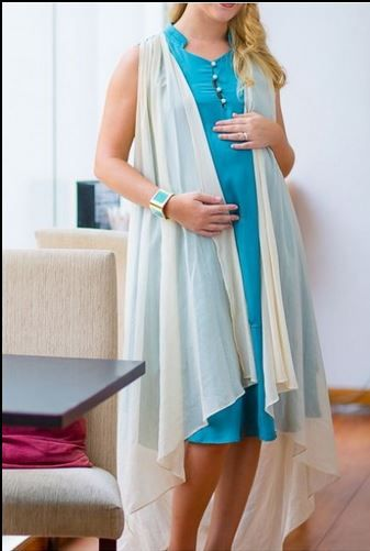 Maternity Grace Evening Gown with Layers and Long Shawl in Blue or Olive £15.44 www.mothermoods.com #SALE #maternityclothes #maternitydress