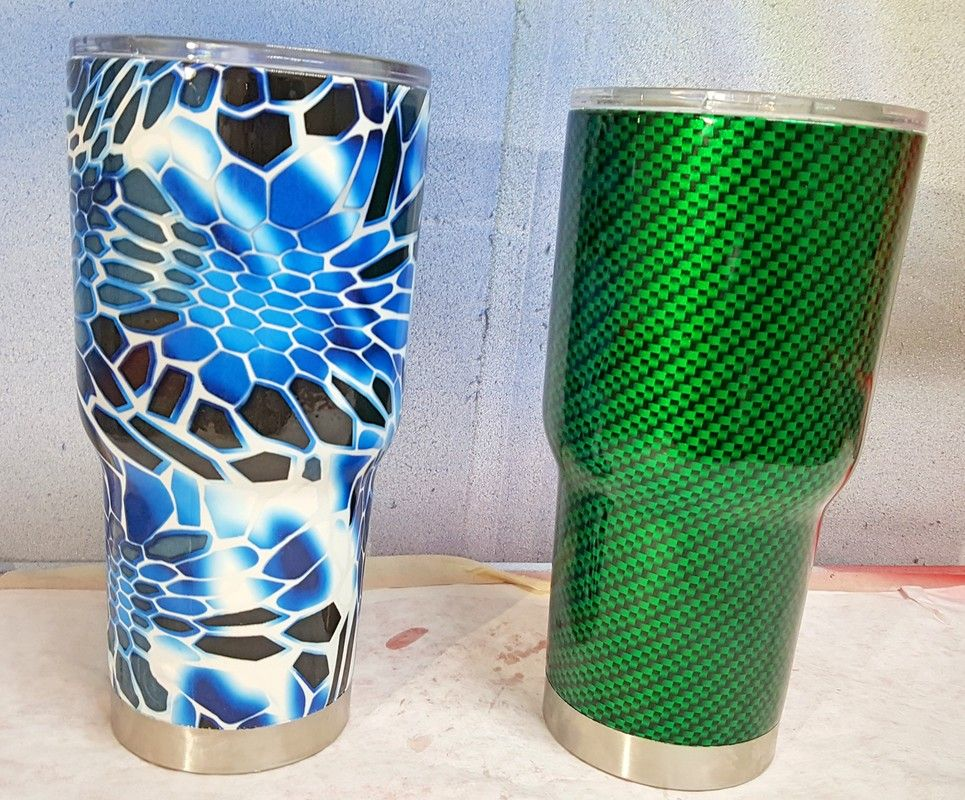 Hydro Dipped Yeti Tumbler In Green Carbon Fiber And Blue Kryptex From Toxic Hydrographics Hydro Graphics Hydro Dipping Yeti Tumbler