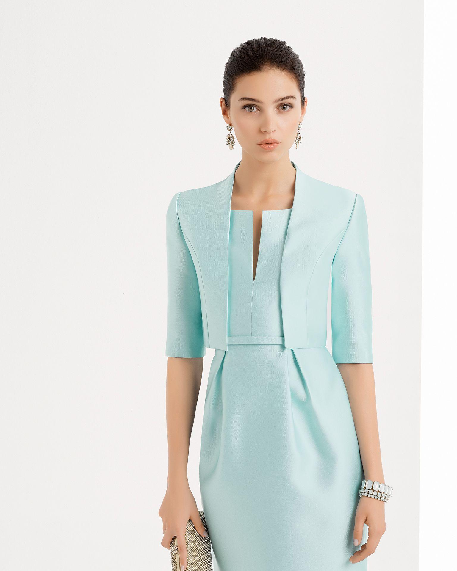 Vestido y chaqueta de mikado disponible en, verde, cobalto y plata ...